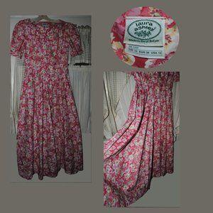 Vintage LAURA ASHLEY Cotton Floral Dress Sz 10 US